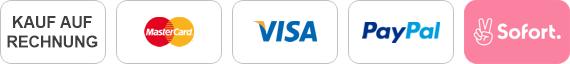 Kauf auf Rechnung, Mastercard, Visa, Paypal, Sofortüberweisung